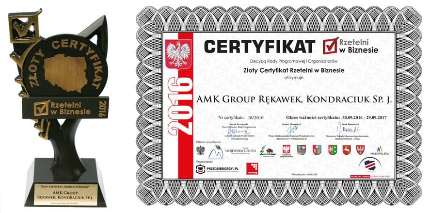 """Złoty certyfikat """"Rzetelni w Biznesie"""" AMK Group"""