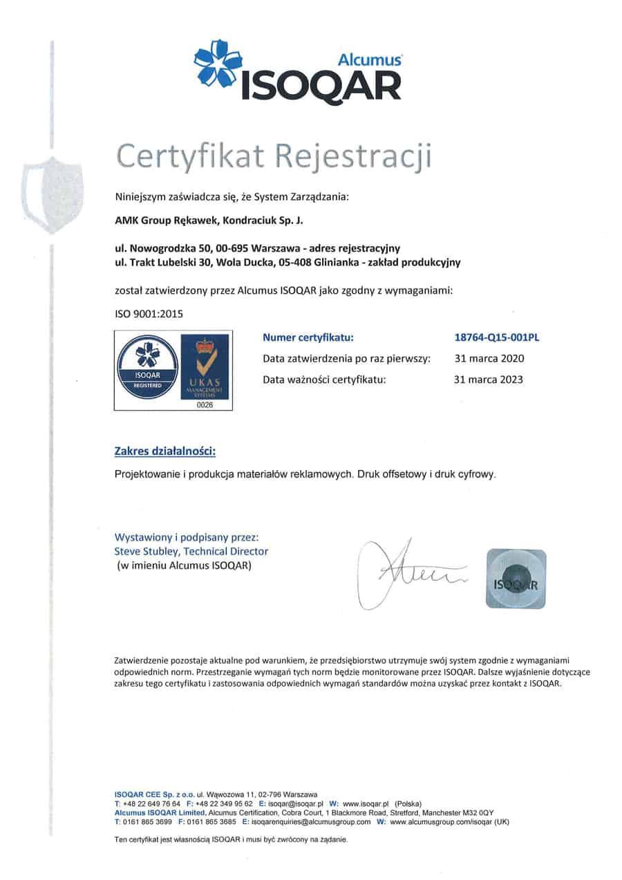 Drukarnia AMK z certyfikatem ISO 9001:2015
