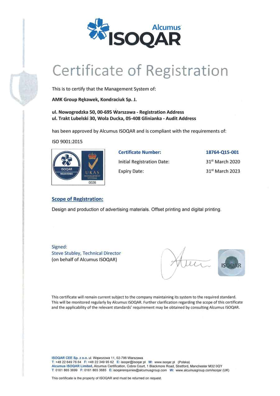 AMK Group printing house with ISO 9001:2015