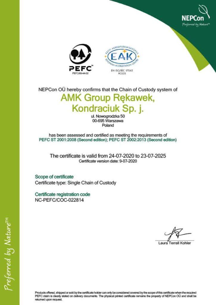 AMK Group - Certyfikat FSC