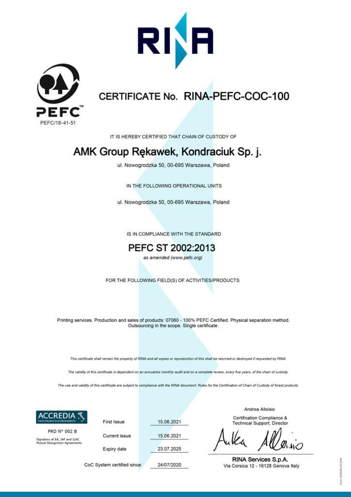 Certyfikat PEFC